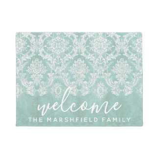 Ice Blue Vintage Damask Pattern Welcome Family Doormat