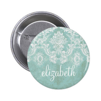 Ice Blue Vintage Damask Pattern with Grungy Finish 6 Cm Round Badge