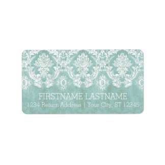 Ice Blue Vintage Damask Pattern with Grungy Finish Address Label