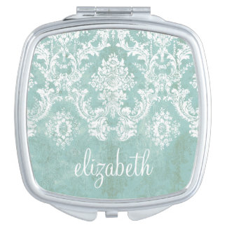 Ice Blue Vintage Damask Pattern with Grungy Finish Compact Mirrors