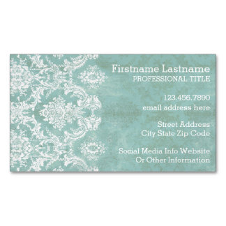 Ice Blue Vintage Damask Pattern with Grungy Finish Magnetic Business Cards (Pack Of 25)