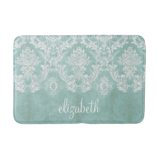 Ice Blue Vintage Damask Pattern with Grungy Finish Bath Mats