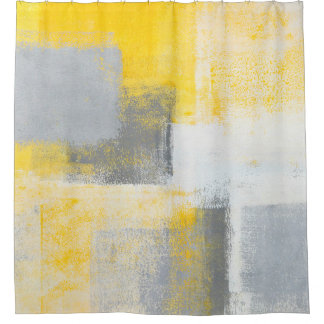 'Ice Box' Grey and Yellow Abstract Art Shower Curtain