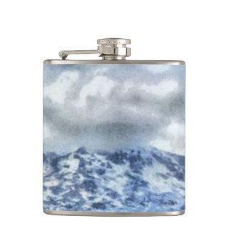 Ice capped mountains hip flask