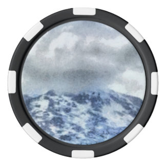 Ice capped mountains poker chips