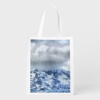 Ice capped mountains reusable grocery bag