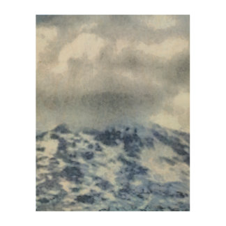 Ice capped mountains wood wall decor