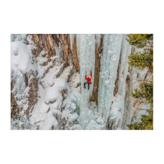 Ice Climber Ascending Cliff Acrylic Wall Art