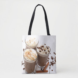 Ice coffee with whipped cream and coffee beans tote bag