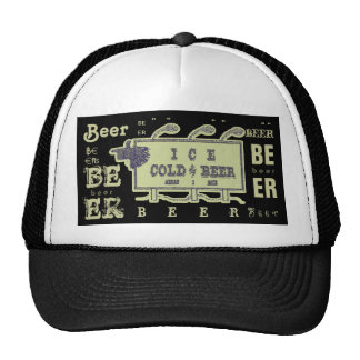 Ice Cold Beer Sign- Faded Yellow Hats