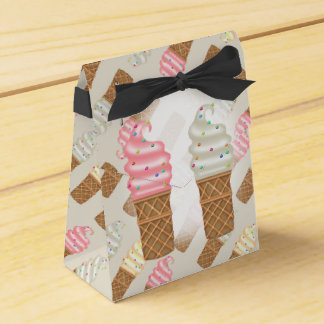 ICE CONES CREAMTent with Ribbon Favor BLACK Favour Box