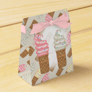 ICE CONES CREAMTent with Ribbon Favor PINK Favour Box