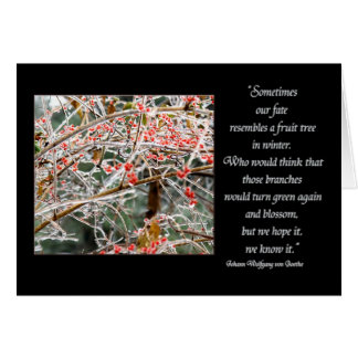 Ice covered branches & berries Goethe fate quote Greeting Card