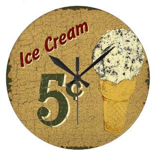 Ice Cream 5 cents Large Clock
