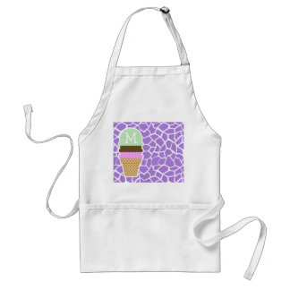 Ice Cream; Amethyst Purple Giraffe Animal Print Adult Apron