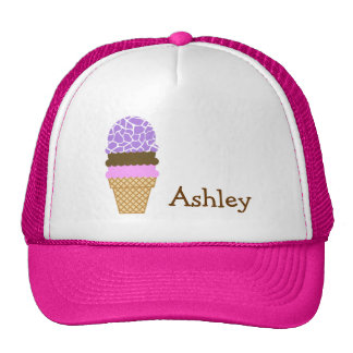Ice Cream; Amethyst Purple Giraffe Animal Print Trucker Hat