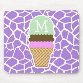 Ice Cream; Amethyst Purple Giraffe Animal Print Mouse Pad