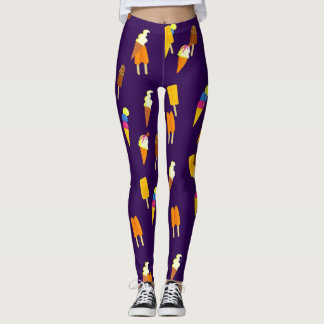 Ice Cream and Popsicles Blue Violet Leggings