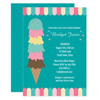 Ice Cream Baby Shower | Teal Card