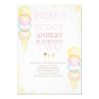 Ice cream birthday invitation, water colour invite