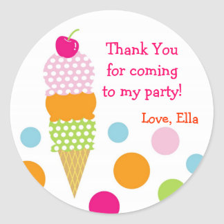 Ice Cream Birthday Party Favor Stickers