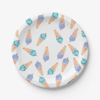 Ice cream blue and purple watercolour party plates
