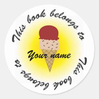 ice cream, Booklabel Round Sticker