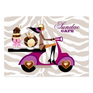 Ice Cream Business Card Scooter Girl Zebra Sundae