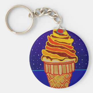 Ice Cream by Piliero Basic Round Button Key Ring