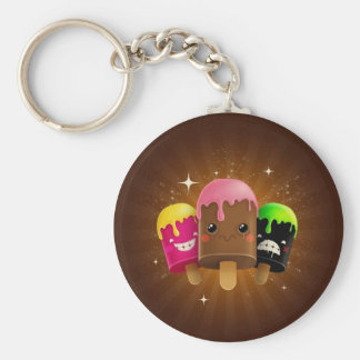 ICE CREAM!! CHOCOLATE, STRAWBERRY AND MORE BASIC ROUND BUTTON KEY RING
