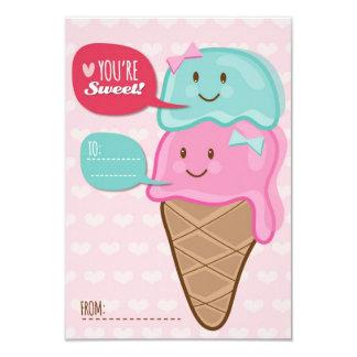 "Ice Cream Classroom School Kids Valentine's Day 3.5"" X 5"" Invitation Card"