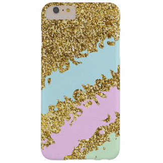 Ice Cream Colors Splatter on Gold Glitter Effect Barely There iPhone 6 Plus Case