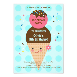 Ice Cream Cone Birthday Party Card