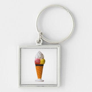 ice cream cone fun  keychain, gift idea Silver-Colored square key ring