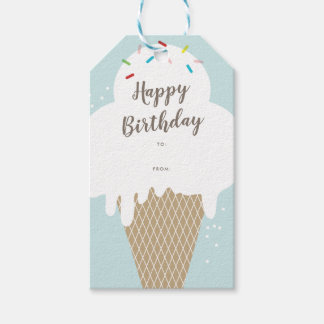 Ice cream cone happy birthday aqua blue gift tags
