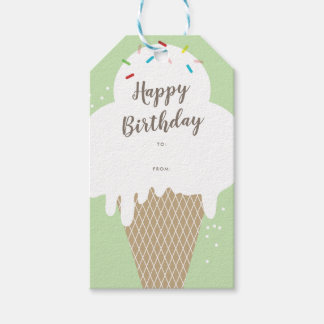 Ice cream cone happy birthday lime green gift tags