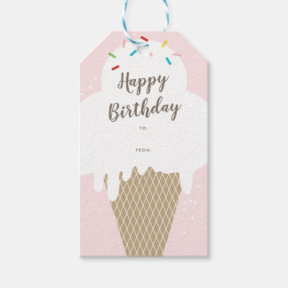 Ice cream cone happy birthday pink gift tags