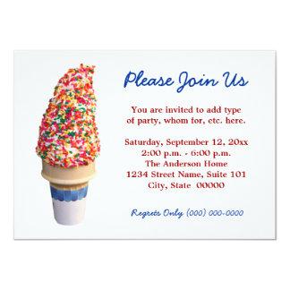 """Ice Cream Cone Invitations 4.5"""" X 6.25"""" Invitation Card"""