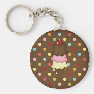 ice cream cone basic round button key ring