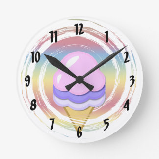 Ice Cream Cone Numbered Wall Clock