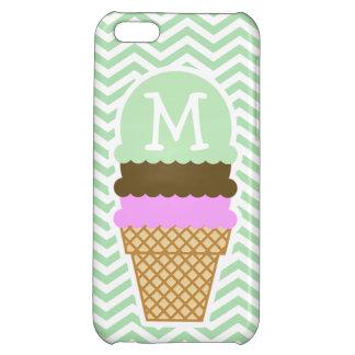 Ice Cream Cone on Celadon Chevron iPhone 5C Case