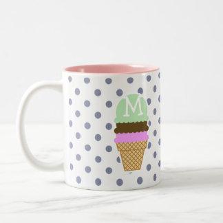 Ice Cream Cone on Cool Grey Polka Dots Two-Tone Coffee Mug
