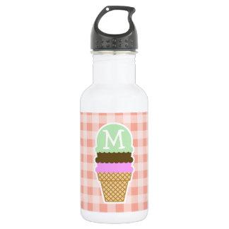 Ice Cream Cone on Deep Peach Gingham 532 Ml Water Bottle