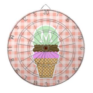 Ice Cream Cone on Deep Peach Gingham Dart Board