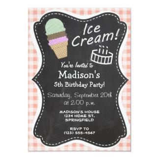 Ice Cream Cone on Deep Peach Gingham Invites