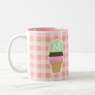 Ice Cream Cone on Deep Peach Gingham Mugs