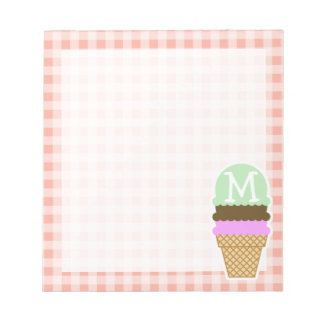 Ice Cream Cone on Deep Peach Gingham Notepads