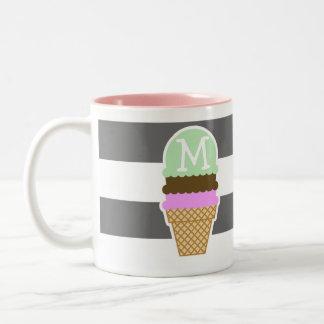 Ice Cream Cone on Dim Gray Horizontal Stripes Two-Tone Mug