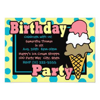 Ice Cream Cone Party Card