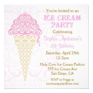 Ice Cream Cone Party Invitation